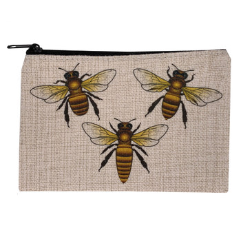 Save The Bees Small Linen Zippered Makeup Bag