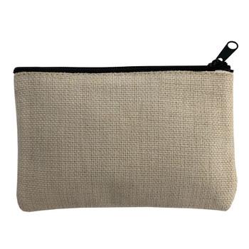 Small Linen Zippered Makeup Bag back view