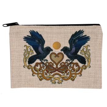 Celtic Heart and Ravens Linen Zippered Bag