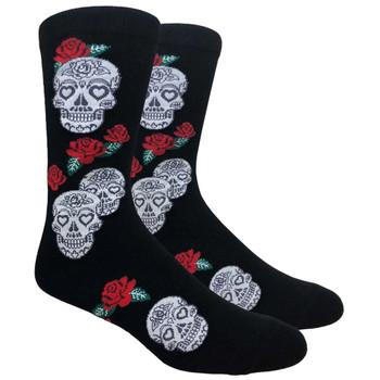 Skull and Roses Men's Crew Socks