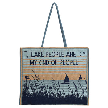 Mona B Lake People Burlap Tote Bag