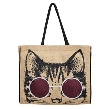 Mona B Meow Cat Face Burlap Tote Bag