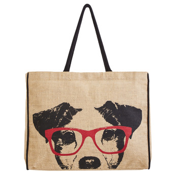 Mona B Dog Face Burlap Tote Bag