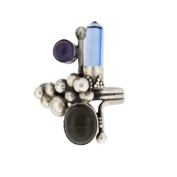London blue Topaz point, Amethyst and green Tourmaline cabochon sterling silver ring size 7.