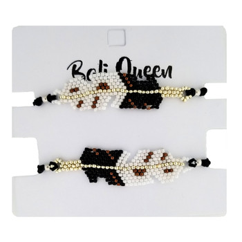 Black feather design friendship bracelets 2-pack.