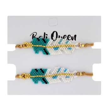 Turquoise blue feather design beaded friendship bracelets 2-pack.
