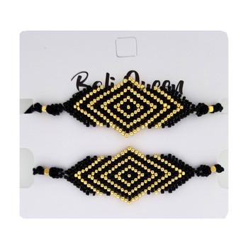 Beaded black and gold diamond design friendship bracelets 2-pack.