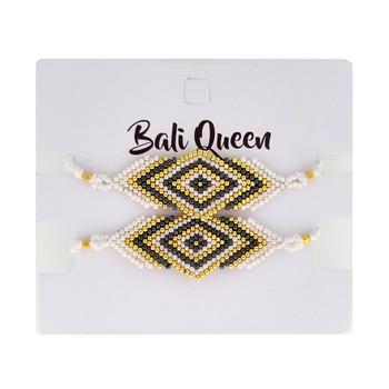 White beaded diamond design friendship bracelets 2-pack.