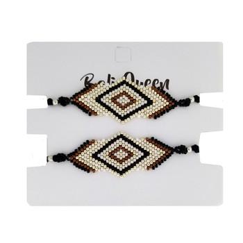Black, brown, white and gold diamond design friendship bracelets 2-pack.