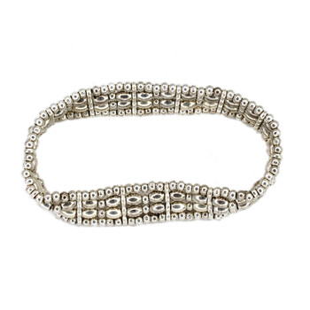 Four row alloy beaded elastic bracelet.