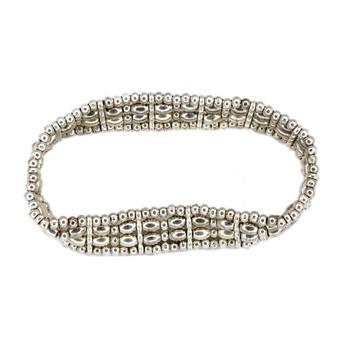 Four row alloy beaded elastic bracelet.