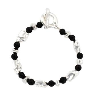 Black Lava stone and alloy beaded bracelet.