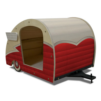 Wood Retro Shasta Trailer Pet Bed right view