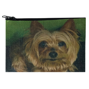 Yorkie Small Linen Cosmetic Makeup Bag