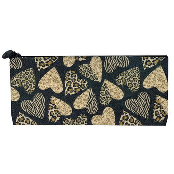Leopard Heart Linen Cosmetic Makeup Bag Pouch