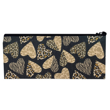 Leopard Heart Linen Cosmetic Makeup Bag Pouch back view