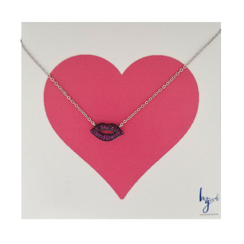 Hot Pink Pave Lips Necklace Sterling Silver Vermeil
