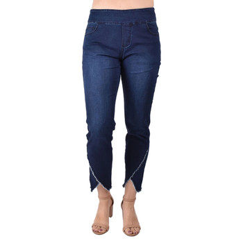Ethyl Denim Crop Jeans with Frayed Hemline