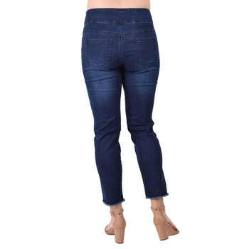 Ethyl Denim Crop Jeans with Frayed Hemline back view