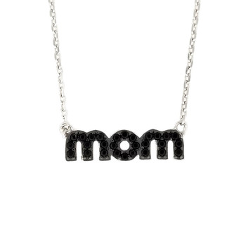 2 in 1 MOM necklace black or clear crystal encrusted silver necklace.