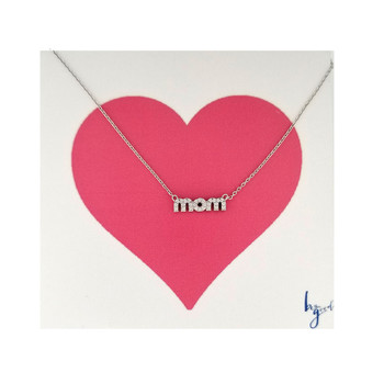 2 in 1 MOM necklace clear or black crystal encrusted silver necklace.