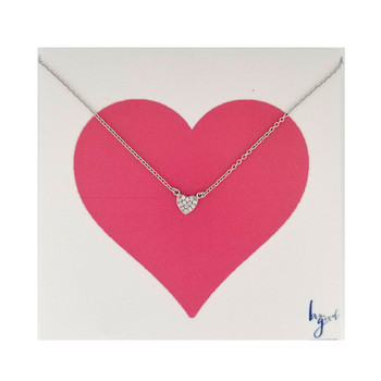 Clear pave heart sterling silver vermeil necklace.