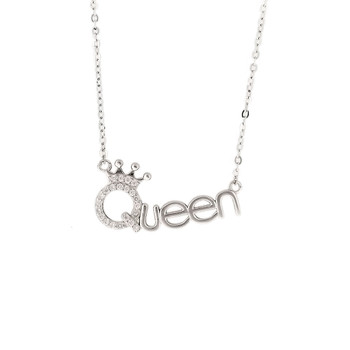 Clear crystal pave Queen necklace sterling silver.