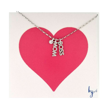 BOSS MOM charm sterling silver necklace on card.