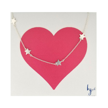 Eight star sterling silver necklace.