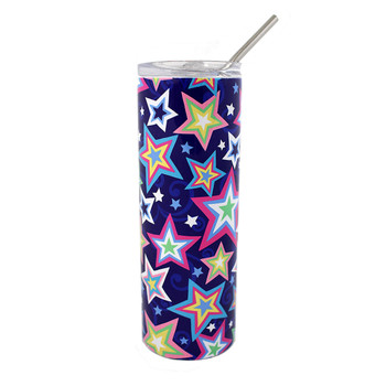 Colorful stars stainless steel tumbler.