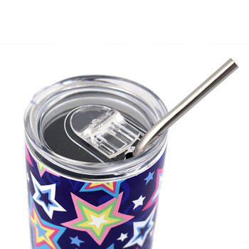 Lid view of colorful stars stainless steel tumbler.