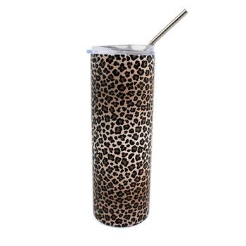 Brown leopard animal print stainless steel tumbler.