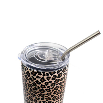 Lid to brown leopard animal print stainless steel tumbler.