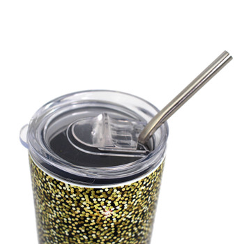 Lid of brown leopard and glitter print stainless steel tumbler.