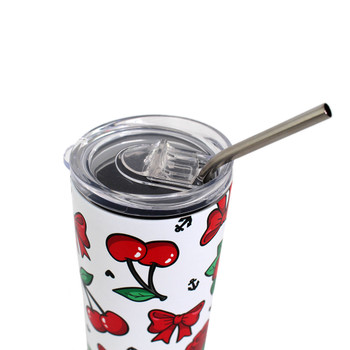 Showing the lid of cherries and bows stainless steel tumbler.
