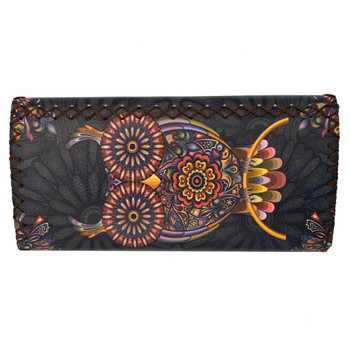 Bohemian Owl Leatherette Clutch Wallet back view