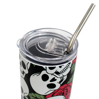 Close up of lid of 20 oz skull and roses stainless steel tumbler.