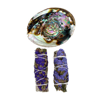 Smudging kit with 2 California sage wands with light purple and purple flowers with abalone shell.