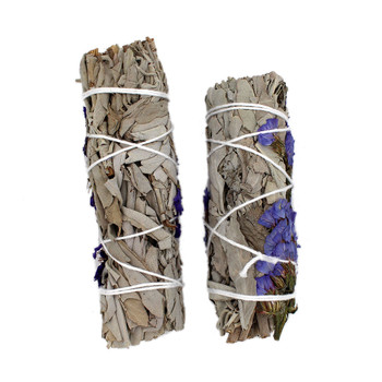 Backside of purple sage wands, flowers do not go all the way around sage wand.