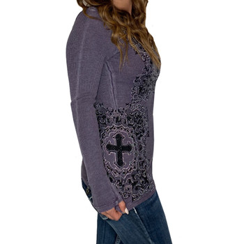 Vocal Apparel Purple Long Sleeve Top side view
