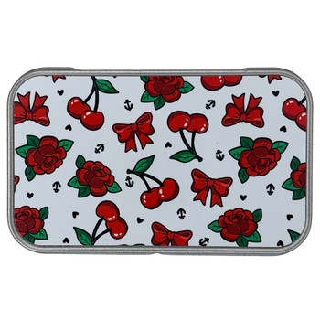 Cherries Bows and Red Roses Metal Tin Box