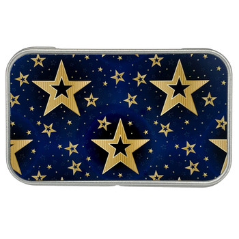 Golden Stars Metal Tin Small Box