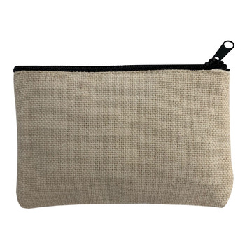 Small Linen Zippered Makeup Bag back view