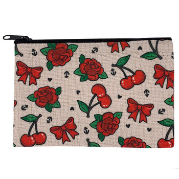 Cherries Bows and Red Roses Cosmetic Bag