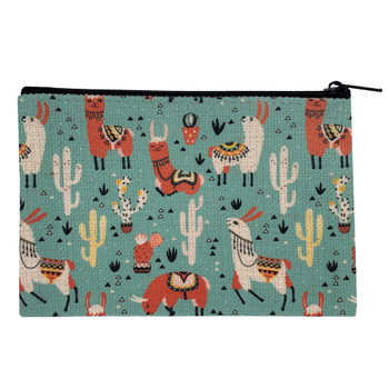 Southwestern Llama Drama Small Cosmetic Bag back view