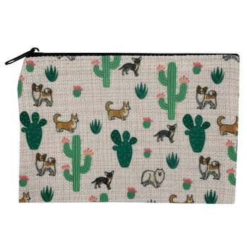 Cactus and Puppy Dogs Small Zippered Linen Pouch