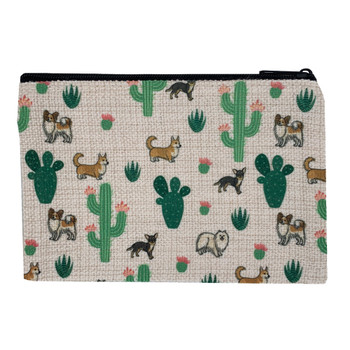 Cactus and Puppy Dogs Small Zippered Linen Pouch back view