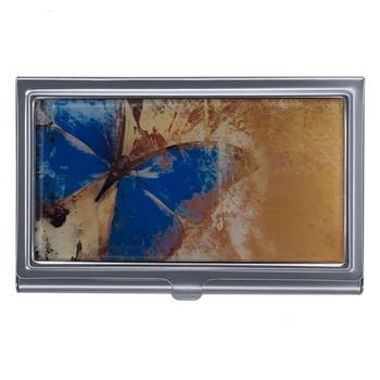 Blue Butterfly Metal Wallet Business Card Holder