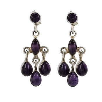 Purple Amethyst sterling silver dangle chandelier earrings.