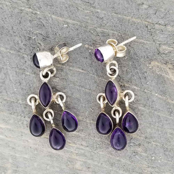 Side view of purple Amethyst sterling silver earrings.